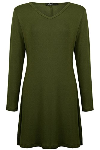 Creti Damen Sexy Party Kleid Casual Dress Langarm T-Shirt Tunika Kleid Armeegrün