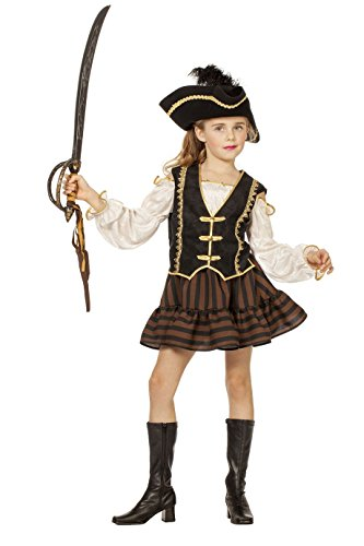 Jannes - Deluxe Piraten Kostüm Mädchen (ohne Hut) 128 (Cap Skull Deluxe)