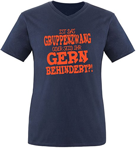 EZYshirt® Ist das Gruppenzwang oder seid ihr gern behindert Herren V-Neck T-Shirt Navy/Orange