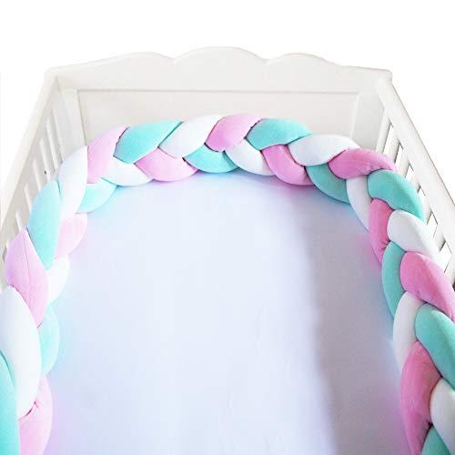 Giovanni Dolcinotti Baby Collection | Paracolpi Lettino e Culla Neonato a Treccia, 200 x 15 cm, 100% Cotone Made in Italy, Marshmallow