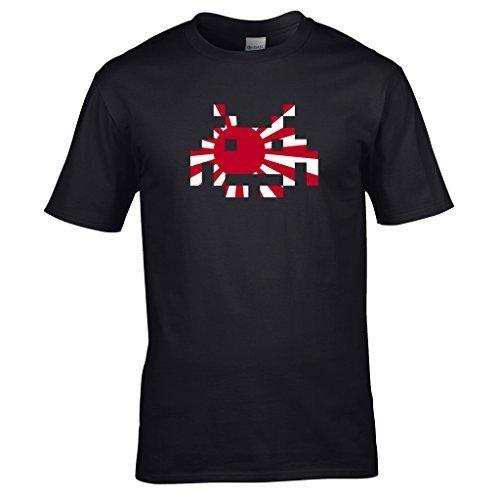 Naughtees Strampler, japanische Flagge Space Invader Shirt. Von Den Frühen Tagen der Computer Gaming. Geek Chic. Schwarz - Schwarz
