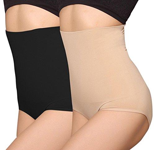 2x Femme Slimmer -Culotte Gainante Amincissant Culottes sculptantes Taille Haute,noir+ecru,Etiquette S
