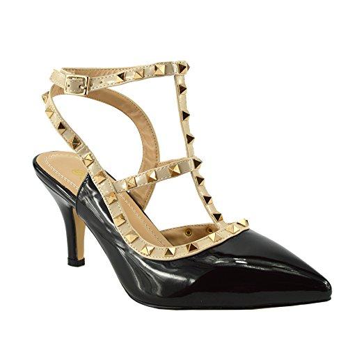 Kick Footwear - Womens Scarpe Da Ufficio Tacco Basso Cinturino Alla Caviglia Partito Sera Scarpe Nero Tacco Basso NF906