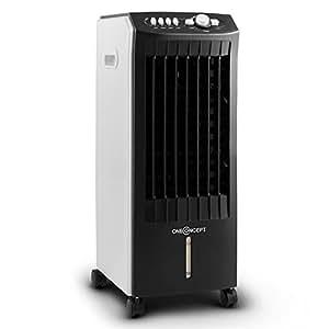 oneConcept MCH-1 V2• Ventilatore • Rinfrescatore d'Aria • Umidificatore • Sistema di Raffreddamento ad Acqua • 3 Impostazioni • 65 Watt • Serbatoio 7,3 L • 2 x Accumulatori di Freddo • Bianco/Nero