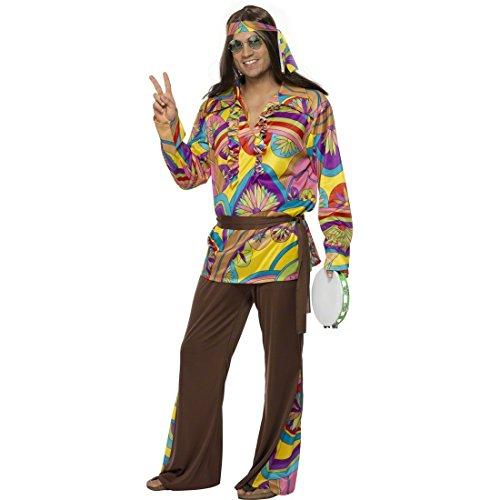 Disfraz hippie M 48/50 disfraz de hippie disfraces de flores disfraz 70er años de guitarra acústica