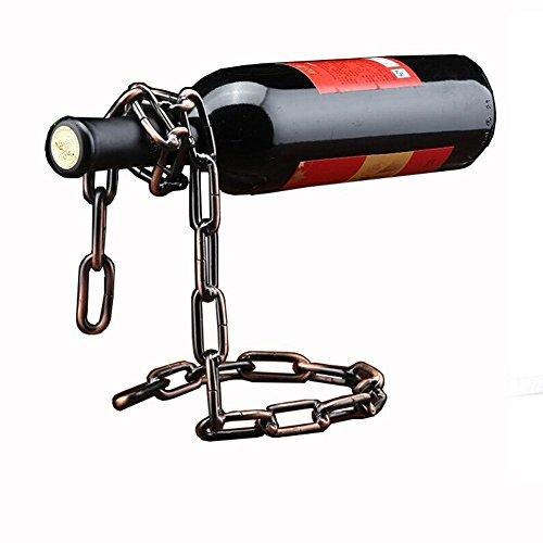 Betan Neuheit Magic Weinflaschenhalter Floating Stahl Link Kette Flasche Wein Rack/Halter-Hält Flaschen in der Luft (Bronze) -