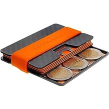 AARÁNDANO ™ Carbon slim-wallet mit CoinCard - Kredikartenetui mit Münzfach und Geldklammer - RFID / NFC - Schutz Etui