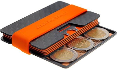 AARÁNDANO ™ Tarjetera con BLOQUEO RFID | Hecha de CARBONO | SEGURIDAD | Tarjeta Multiusos | PROTECCIÓN hasta 16 Tarjetas Crédito | Pinza para Billetes | Clip para Dinero | Cartera Hombres