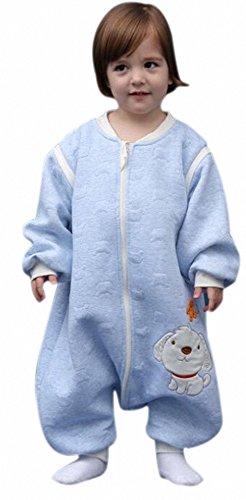 babySchläfsack winter kinderSchlafsack.Hund mit Füßen Baumwolle Junge Mädchen unisex ganzjahres Schlafanzug .Neugeborene pyjama/overall/Strampler (M:90cm 1-3Jahre), Blau)