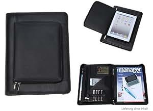 Conférencier en cuir véritable avec poche pour tablette sur le dessus (convient pour iPad) et porte-documents Noir Format DIN A4