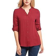 Meaneor Mujeres Camiseta con Manga Larga de Gasa con Cuello V Blusa Elegante