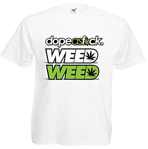T-Shirt Weed Cannabis Joint Freiheit Spass Fun Rauchen Kiffen Gras Bong Haschisch Motiv 31 viele Farben S M L XL 2XL 3XL 4XL Damen Herren und Kinder 104 bis 152 Weiß