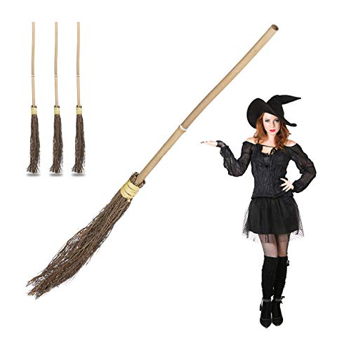 Zubehör Besen Hexe Kostüm - 4 x Hexenbesen, Reisigbesen mit Bambus-Stiel, Hexenzubehör für Kinder und Erwachsene, Kostüm, Deko, 93 cm lang, natur