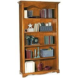 Librería, estilo clasico, en madera maciza y mdf con acabado nogal pulido - Medidas 120 x 40 x 210