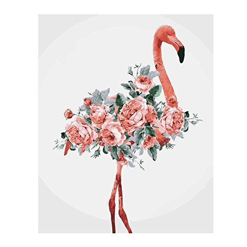 Malen nach Zahlen,BEETEST Malen nach Zahlen Flamingos DIY Ölgemälde Leinwand by Zahlen mit Acrylfarbe für Home Wohnzimmer Büro Bild Decor Flower Flamingos