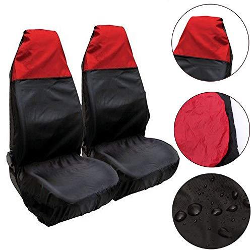 YUnnuopromi 2Pcs Wasserdichter Universal Wagen AutoTransporter SchwerLast Schutz Sitz Deckel Gehäuse Rot + schwarz