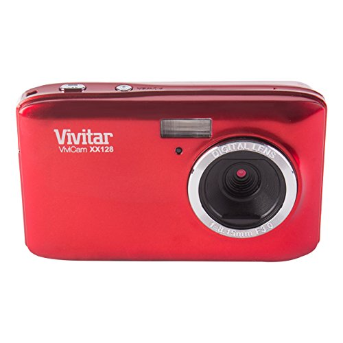 Vivitar Kompakte Digitalkamera, VXX128, 20MP, 2.7-Zoll-Bildschirm, 4-fach Digitalzoom (Rot)