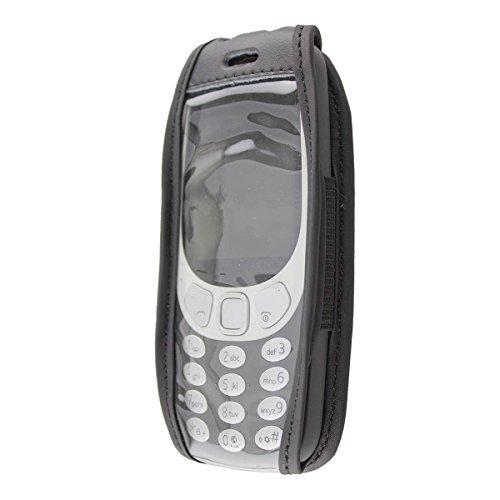 caseroxx clip da cintura custodia per Nokia 3310 (2017) 3G / 4G cover in vera pelle, copertura con finestrina protettiva e clip