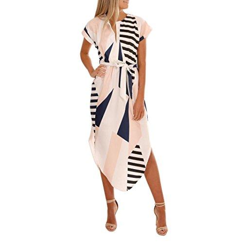 VEMOW Sommer Kleider Frauen Kurzarm V-Ausschnitt beiläufige tägliche Party Urlaub Strand Blumen Kleider Abendkleid Knielanges Kleid mit Gürtel(Weiß, EU-42/CN-S)
