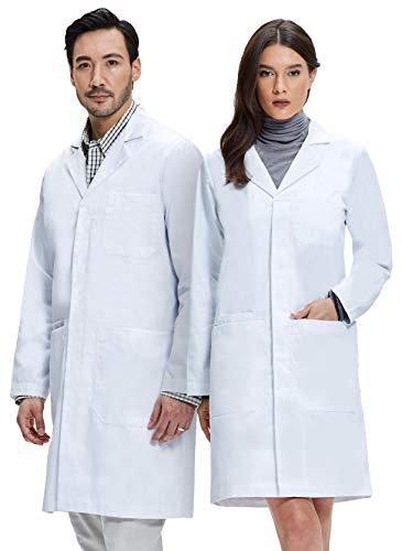 Dr. James Weißer Unisex Laborkittel 100% Baumwolle Hohe Qualität DE-03-L -