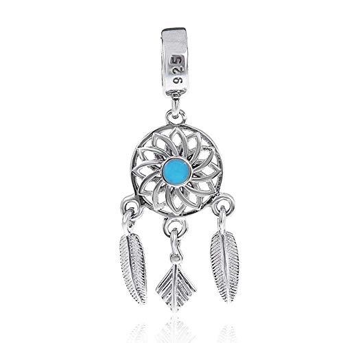 Abalorio de plata de ley 925 con diseño de atrapasueños y plumas para pulsera Pandora A