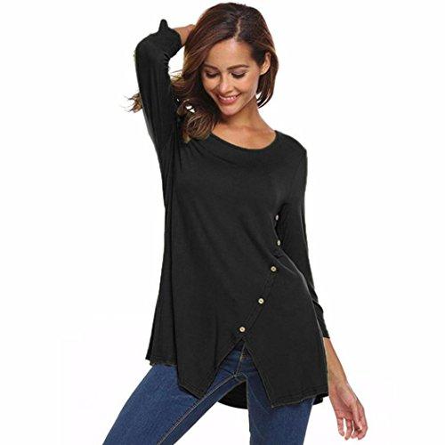 OverDose Damen Solide Split Saum O-Ausschnitt Casual T-Shirt Bluse Tunika Tops mit Knöpfen Sommer Oberteile Basic Tees(Black,XL) - Seide Tank-kleid Verziert