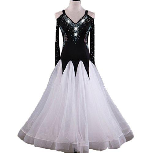 Damen Moderner Tanz Standard Ballroom Tanz Wettbewerb Kleider Tanzende Kostüme Erweiterungsrock Für Damen V-Ausschnitt Strass Tango Walzer Kleider, White, XXL
