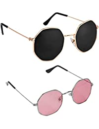 Dervin Octagonal Sunglasses/Frame For Men & Women - Combo of 2