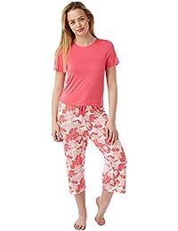 Indigo Sky Ladies Navy and Coral Nigella Print Cropped Pyjama Set 490852dcf