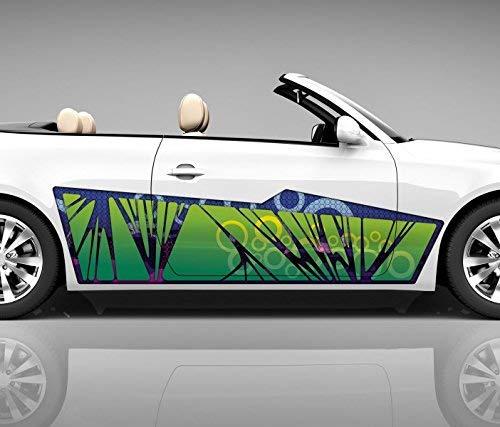 2x Seitendekor 3D Autoaufkleber grün Retro Digitaldruck Seite Auto Tuning bunt Aufkleber Rennstreifen Seitenstreifen Dekor Racing Autofolie Car Wrapping Motorrad LKW Decals Sticker Tribal Seitentribal CW003 Airbrush Carwrap, Größe LxB:ca. 80x20cm