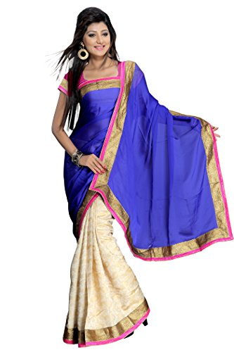 Florence Blue Jaquard Embroidered Saree