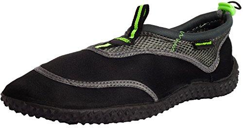 AQUA-SPEED Aqua Zapatos - Zapatos De Agua Para La Playa - Mar - Lago - Zapatillas Como Protección Para Los Pies - As5a, Negro/Verde/Gris 40