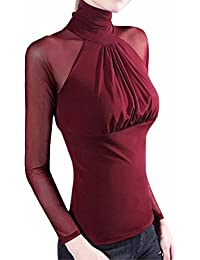 Mujer Camiseta Blusa Transparente Suéter de Cuello Alto Mangas Largas Elegante Moda Oficina Casual, ❤