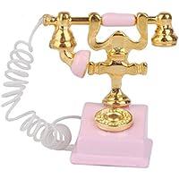 Qsoleil Vintage Miniature Furniture 1/12 Dollhouse Mini-Telefon, Retro, Rosa