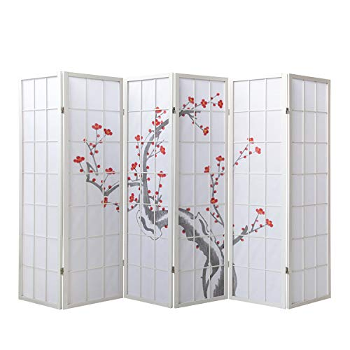 Homestyle4u 340 Paravent 6 teilig Raumteiler 6 fach Holz Weiß Shoji Reispapier weiss mit Kirschblüten Trennwand Spanische Wand Sichtschutz zusammenklappbar