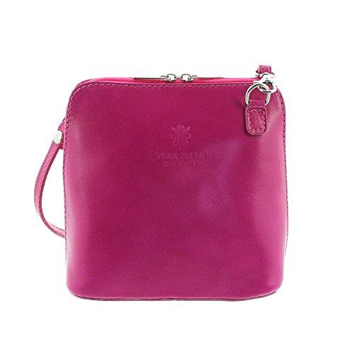 IO.IO.MIO Leder Schultertasche Damen Umhängetasche Handtasche klein & leicht pink