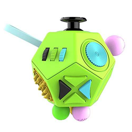 12 Sides Fidget Cube Spinner Toy Ball Stress Anxiety Relieves 2.0 (Green)