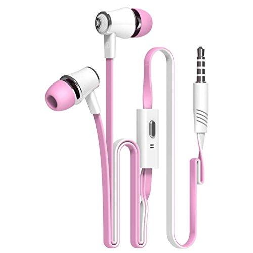 Tefamore Auriculares Estéreo De 3.5mm Con Micrófono En-Oído Para Teléfono Móvil (Rosa)