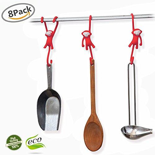 S Haken, Morbuy 8 Stück Cartoon ABS S-förmige Kleider Kleiderbügel Metall Haken für Küche Badezimmer Schlafzimmer Verwenden (Rot) (Rot Dusche Haken)