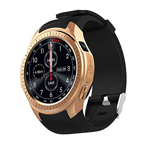 88AMZ Smartwatch,Fitness uhr mit 24hours Blutsauerstoff Blutdruck Pulsmesser,1,3 Zoll IPS-Bildschirm Air pressure monitoring,GPS-Bewegungsspur,480mAH TF-Karte for ios Android (Gold)