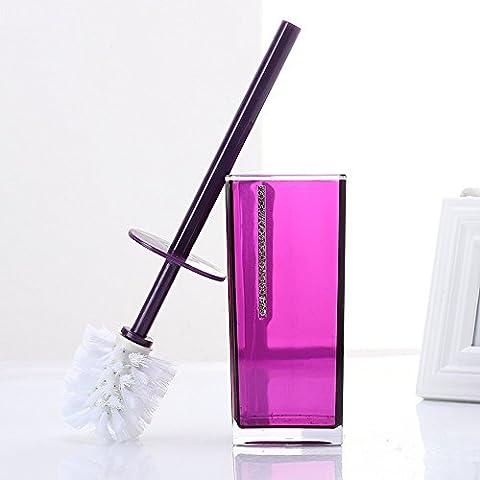 European Acrylic Toilet Brush Set Creative Diamond Long Handle Brush,Purple Translucent