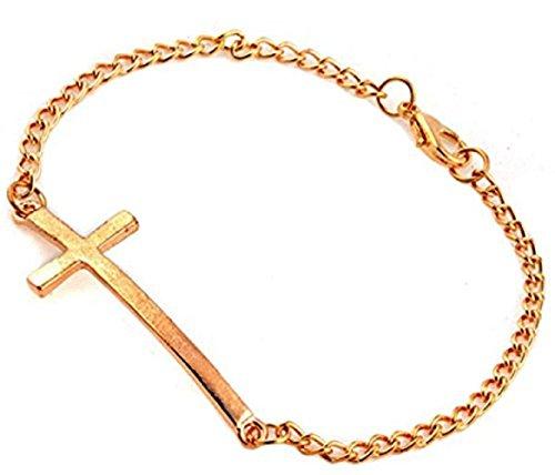 (Gold) Armband Mit Kreuz Und Kette 3 Farben Geschenkideen MäDchen Jungen MäNner Frauen Zu WäHlen (Männer Für Gold-jesus-armband)