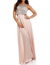 Damen Abendkleid Maxikleid Chiffonkleid mit Strasssteinen und Zierausschnitt