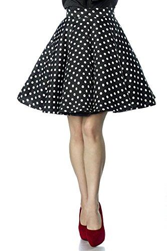Belsira Eleganter Damen Tellerrock im 50er Jahre Stil Schwarz Weiß