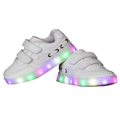 (Present:kleines Handtuch)JUNGLEST® 7 Farben LED Kinder, Jungen, Mädchen führte leuchten Trainer Sneakers Turnschuhe Sportschu White