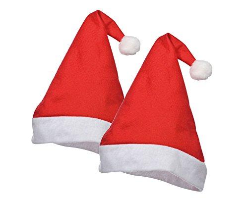 TK Gruppe Timo Klingler Weihnachtsmütze Nikolausmütze  Santa Claus  mit Plüsch / LED Bommel für Kinder, Baby & Erwachsene (2X Rot Klassik)