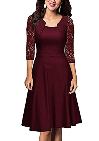 Women's Vintage Square Neck Cocktail Swing Dresses with Lace 3/4 Sleeve Burgundy XXL