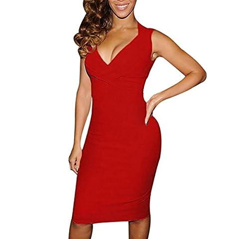 Robe sans manches à col en V Motif femmes robe froncée en Jersey stretch moulante Soirée Cocktail Mariage Slim Desire Clothing Robe tunique Jennifer Noir - Rouge -