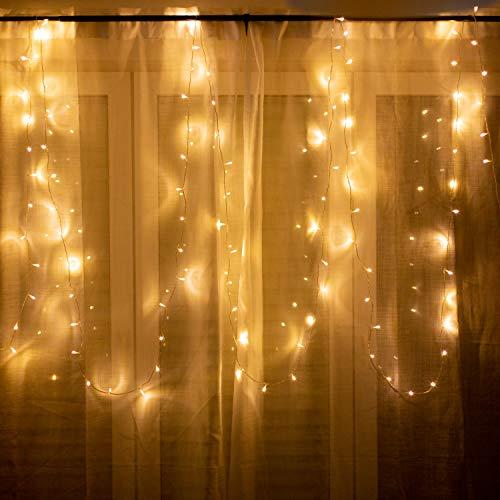 100er LED Lichterkette für innen und außen - 12 Meter | Mit Netzstecker NICHT batterie-betrieben | 100 LEDs warm-weiß | Kein lästiges austauschen der Batterien | von CozyHome (Globe-string-lichter Im Freien)