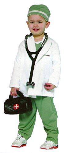 4-teiliges Kinderkostüm - Arzt, Doktor, Arztkittel - Weiß, Grün - L - Gr. 140 - 7-10 (Arzt Kinder Kostüme)